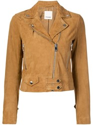 Pinko Cropped Moto Jacket Brown