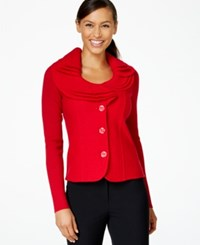 Charter Club Ruffle Detail Sweater Blazer New Red Amore