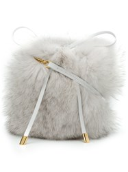 Mr And Mrs Italy Fox Fur Shoulder Bag White