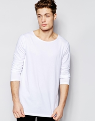 Asos Longline Long Sleeve T Shirt With Boat Neck White