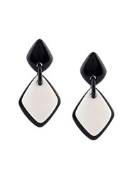 Monies Linked Flat Diamond Shape Clip On Earrings Black