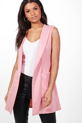 Boohoo Jennifer Shawl Collar Sleeveless Blazer Rose