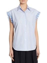 Tome Striped Lace Up Back Shirt Blue Grey
