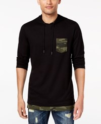 American Rag Men's Camo Trim Hoodie Created For Macy's Deep Black