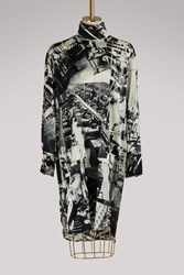 C Line Silk Tunic Top With 'Factory' Print Black White