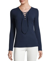 Romeo And Juliet Couture Lace Up Ribbed Top Navy
