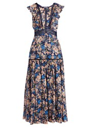 Rebecca Taylor Gigi Floral Print Ruffle Trimmed Cotton Dress Blue Print