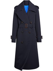 Burberry Oversized Lapel Gabardine Trench Coat Blue