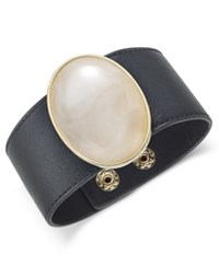 Inc International Concepts Gold Tone Large Stone Wide Faux Leather Bracelet Only At Macy's Black