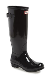 Women's Hunter Adjustable Back Gloss Rain Boot Black