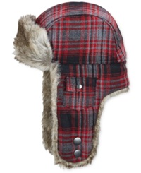Woolrich Plaid Arctic Trapper Hat With Faux Fur Earflaps Black