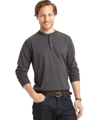 G.H. Bass And Co. Long Sleeve Henley T Shirt Black Heather