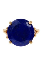 Heather Hawkins 18K Yellow Gold Vermeil Angel Solitaire Gemstone Ring Blue