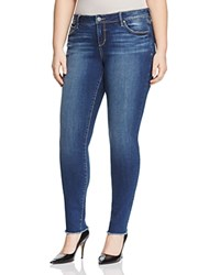 Slink Jeans Frayed Hem Skinny In Medium Blue Charvelle