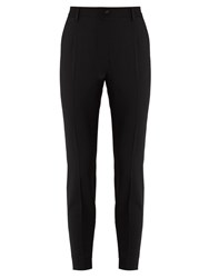 Dolce And Gabbana High Rise Stretch Wool Trousers Black