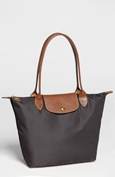 Longchamp 'Small Le Pliage' Shoulder Tote Grey Gunmetal