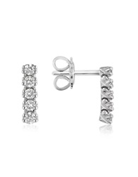 Forzieri 0.37 Ctw Five Stone Drop Diamond 18K Gold Earrings White Gold