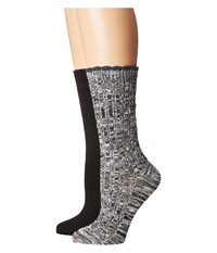 Steve Madden 2 Pack Marl Scallop Cuff Black White Women's Crew Cut Socks Shoes