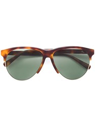 Brioni Tortoiseshell Round Sunglasses Brown