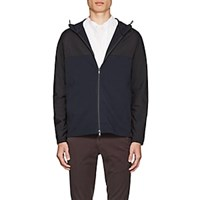 Theory Tech Fabric And Cotton Terry Hooded Jacket Navy