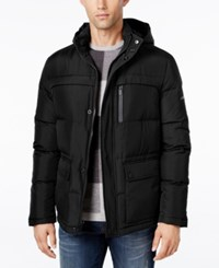 Kenneth Cole New York Herringbone Down Puffer Jacket With Removable Hood Black