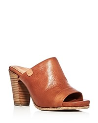 Gentle Souls Serella High Heel Slide Sandals Cognac