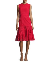 Giambattista Valli Sleeveless Macrame Tea Length Dress Red