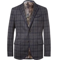 Etro Blue Slim Fit Checked Cotton And Wool Blend Blazer Navy