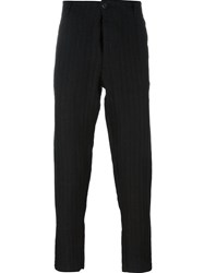 Transit Striped Tapered Trousers Black
