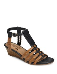 Aerosoles Bittersweet Faux Leather T Strap Wedge Sandals Black