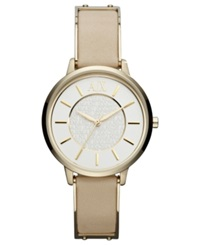 Ax Armani Exchange Watch Women's Gold Tone Stainless Steel And Nude Leather Strap 38Mm Ax5301