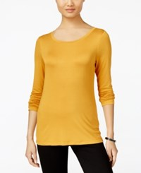 Cable And Gauge Long Sleeve Knit Top Inca Gold