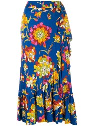 La Doublej Jazzy Printed Wrap Skirt Blue