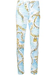 Moschino Chain Print Slim Fit Trousers White