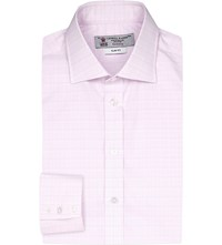 Turnbull And Asser Slim Fit Checked Cotton Shirt Pink White
