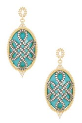 Freida Rothman 14K Gold Plated Sterling Silver Cz Turquoise Cage Love Knot Earrings Metallic