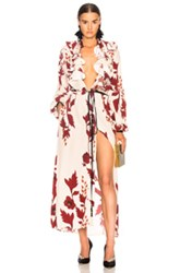 Johanna Ortiz Cape Of Good Hope Silk Crepe Kimono In Neutrals Red Floral Neutrals Red Floral