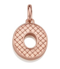 Monica Vinader Rose Gold Quilted Capital O Pendant Female Pink
