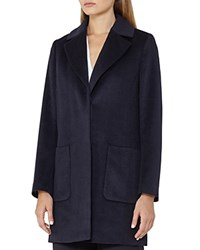 Reiss Harmony Relaxed Mid Length Wool Coat Night Navy