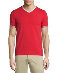 Moncler V Neck Tape Tipped Jersey Tee Red Size Large