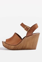 Topshop Willow Two Part Wedges Tan