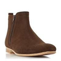 Linea Medal Side Zip Detail Leather Boots Light Brown