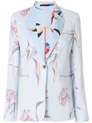 Paul Smith Inverted Floral Print Tailored Blazer Blue