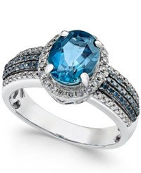 Macy's London Blue Topaz 2 Ct. T.W. And Diamond 2 5 Ct. T.W. Ring In 14K White Gold