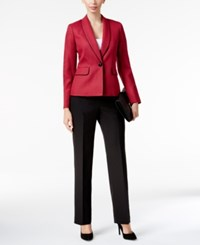 Le Suit Textured Colorblocked Pantsuit Red Black