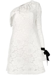 Philosophy Di Lorenzo Serafini One Shoulder Lace Dress Women Cotton Polyamide Polyester Cupro 38 White