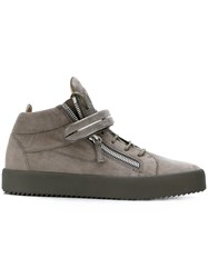 Giuseppe Zanotti Design Hi Top Lace Up Sneakers Leather Suede Rubber Grey