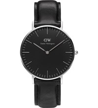 Daniel Wellington Classic Black Sheffied Leather And Stainless Steel Watch