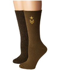 Steve Madden 2 Pack Military Boot Sock With Star Embroidery Hunter Green Knee High Socks Shoes