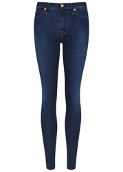 7 For All Mankind Blue High Waisted Skinny Jeans Denim
